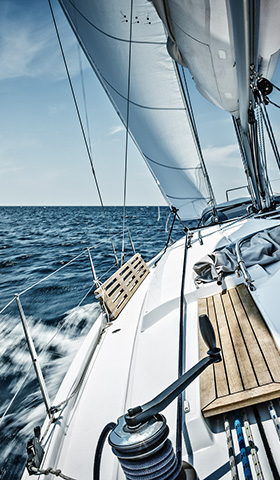 Luxury sailboat on the ocean and blue skys